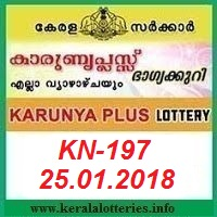 KARUNYA PLUS (KN-197) LOTTERY RESULT ON JANUARY 25, 2018