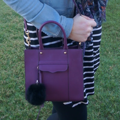 striped tee dress with Rebecca Minkoff mini MAB tote in plum purple | awayfromtheblue
