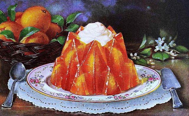 a 1922 Canada cold gelatin dessert with submersed peach slices and whipped cream on a serving dish, color illustration