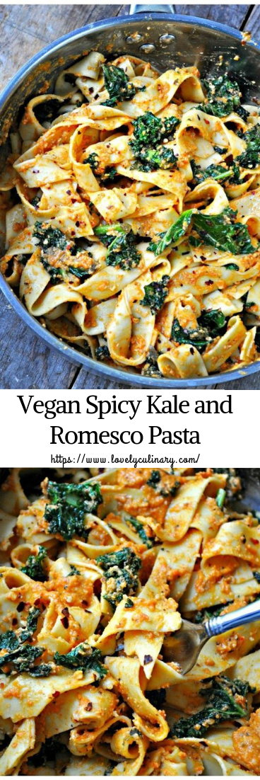Vegan Spicy Kale and Romesco Pasta #healthy #recipe