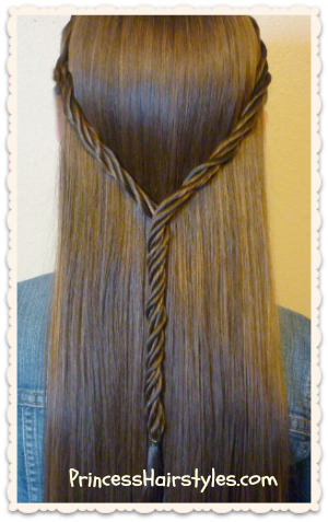 Licorice braid tie back hairstyle
