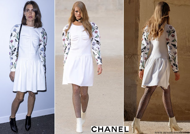 Charlotte Casiraghi wore an embroidered dress from Chanel Cruise 2021/22 collection