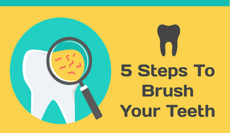 5 Steps To Brush Your Teeth #infographic