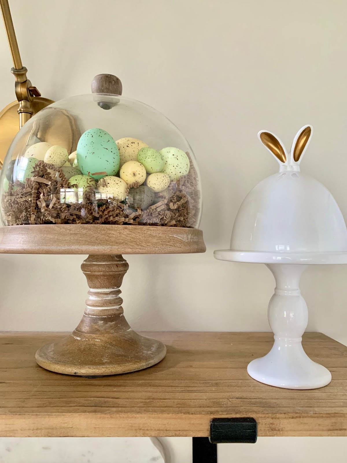 Easter eggs under cloche