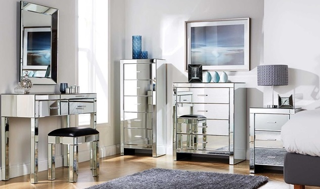 contemporary mirrored furniture. for example, in a bedroom grouping, one mirrored furniture chest or two  night tables on either side of the bed are enough to set contemporary tone l