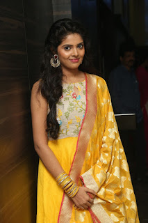 Shravya in Yellow Churidaar looks super cute at audio release function of Nandini Nursing Home