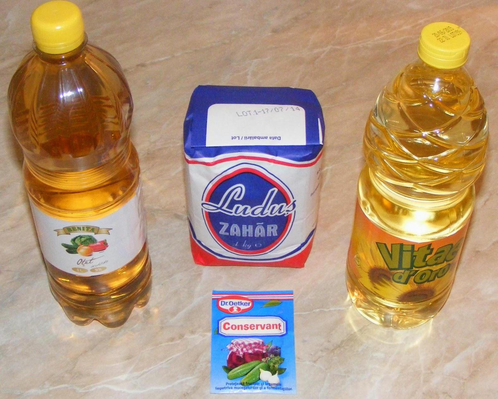retete si preparate culinare ingrediente salata de muraturi asortate, otet zahar ulei si conservant pentru muraturi,
