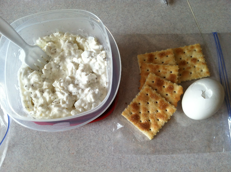 LUNCH   1 CUP COTTAGE CHEESE (OR 1 SLICE CHEDDAR CHEESE), 1 HARD BOILED  EGG, 5 SALTINE CRACKERS