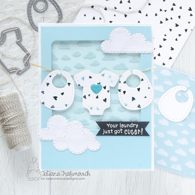 Newton's Nook Designs & Therm O Web Inspiration Week | Baby card by Tatiana Trafimovich | Bitty Bibs Stamp Set, Baby Bibs Die Set, Stitched Onesie Die Set, Sky Scene Builder Die Set, and Petite Clouds Stencil by Newton's Nook Design with Foil and Flock by Therm O Web #newtonsnook #handmade