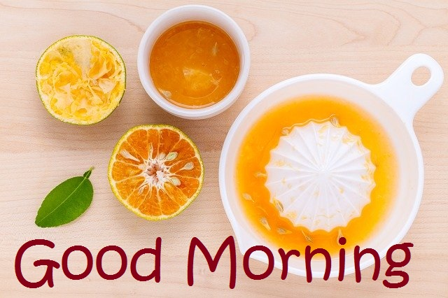 Good Morning message with Fruit image