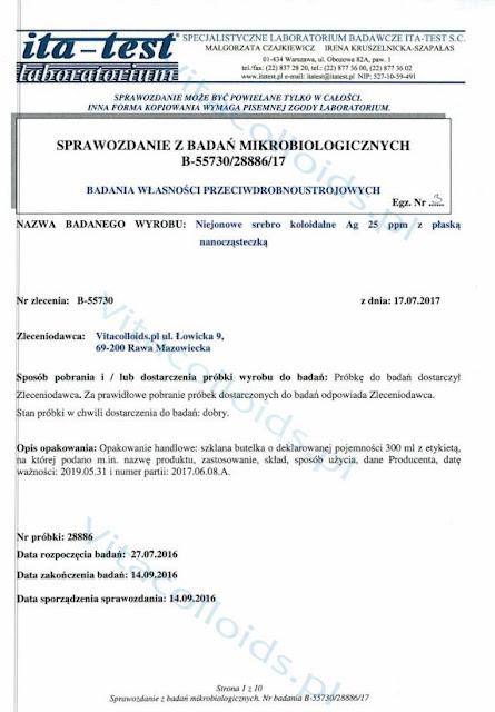 Srebro koloidalne Vitacolloids vs Candida Albicans badanie str. 1