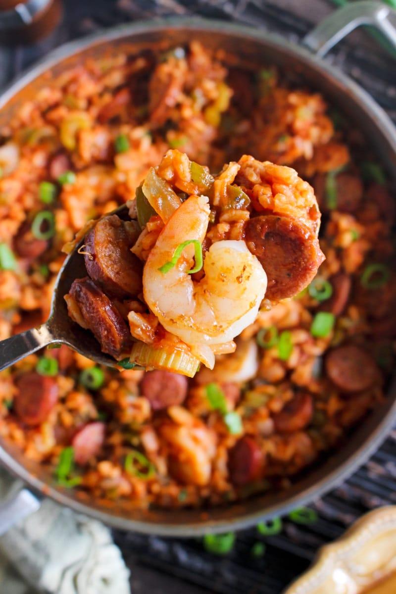 This is the best Jambalaya recipe full of bold Cajun flavor! Made with Cajun andouille and fresh shrimp, this easy jambalaya recipe will rock your tastebuds! #easyjambalaya #cajunrecipe