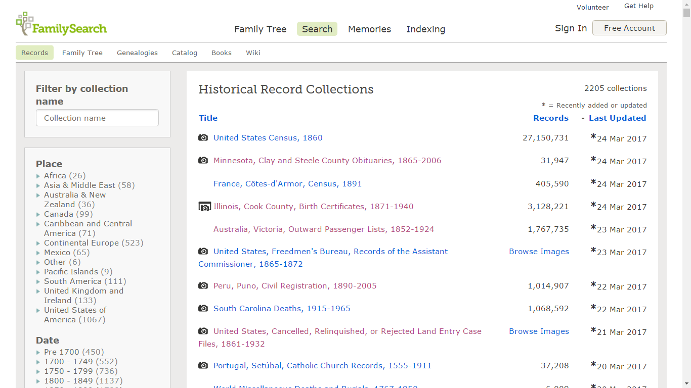 Genea Musings Added Or Updated Record Collections At Familysearch
