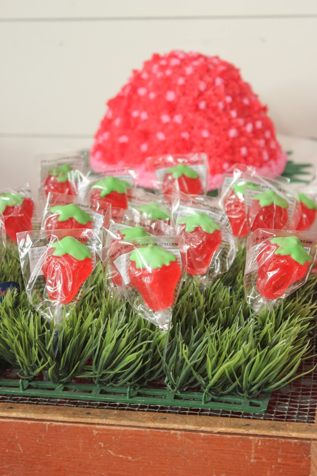 Strawberry themed birthday favors