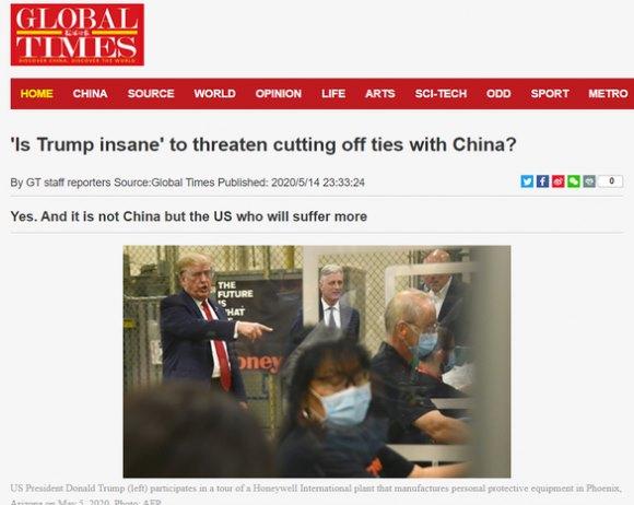 Hoàn Cầu Thời Báo của Trung Quốc nói ông Trump 'điên', 'như một con thú bị dồn vào đường cùng đang làm điều tuyệt vọng'