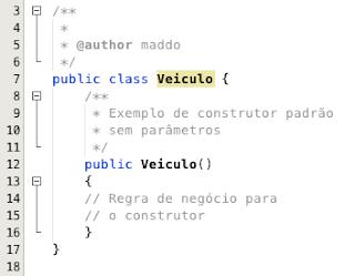 Construtor padrão em Java