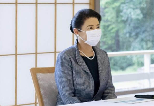 Empress Masako wore a tweed blazer and wool skirt