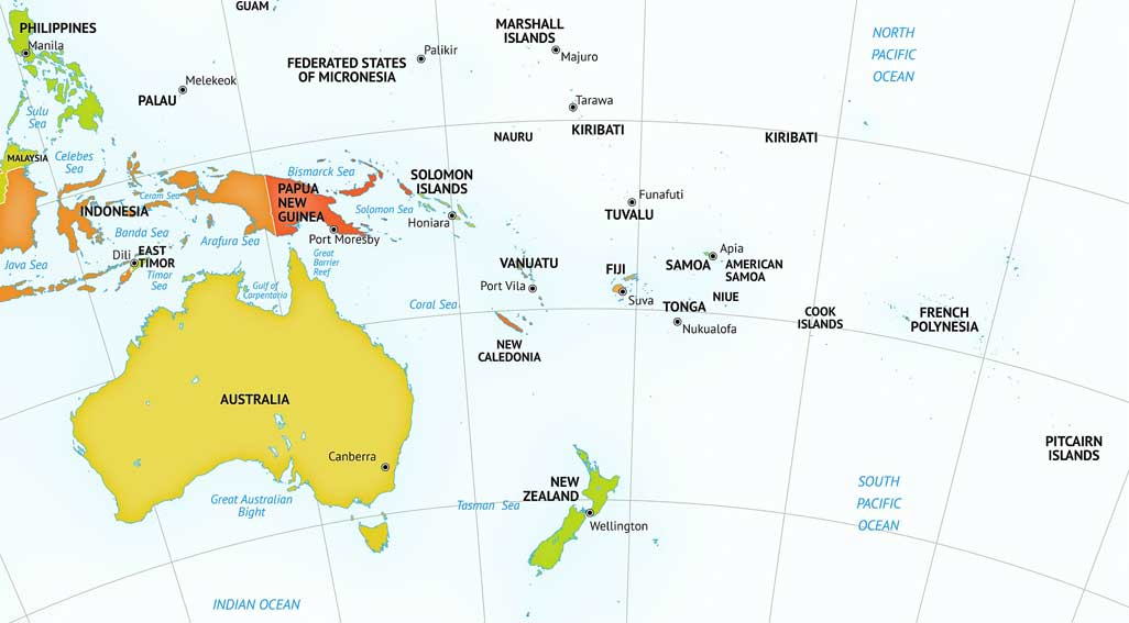 Image map of the continent of Australia