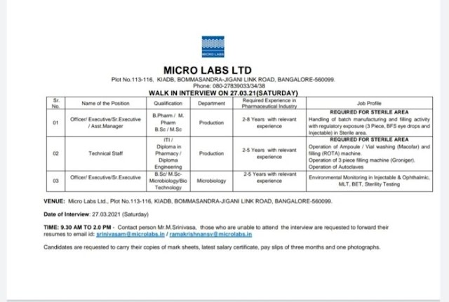 Micro labs | Walk-in interview for Production/QC on 27th Mar 2021