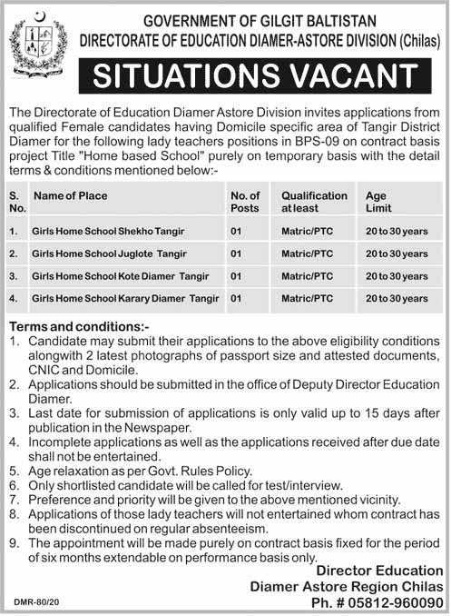 Government jobs in Education Department Gilgit Baltistatan for Teachers