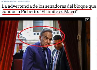 Pichetto se queda solo en el senado