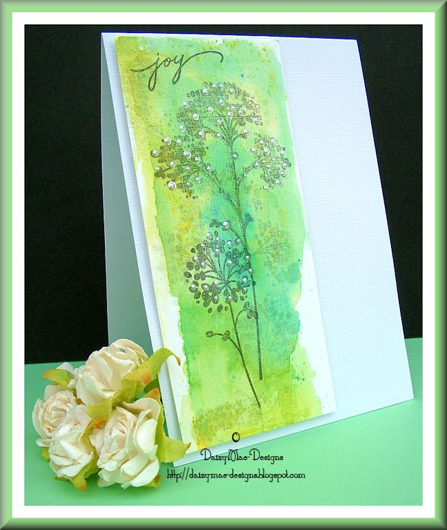 Green, watercolour, card, flowers
