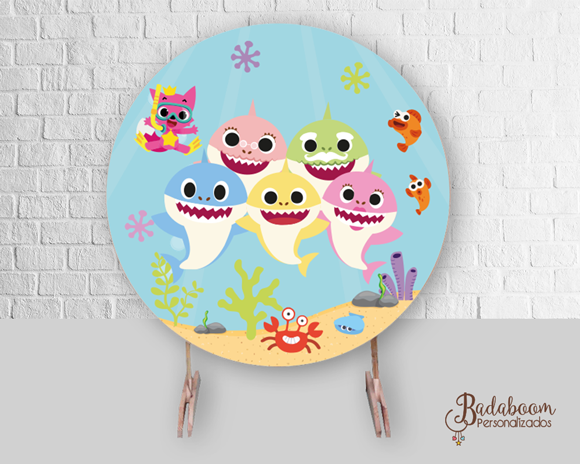 Baby Sahrk, arte digital, painel baby shark, painel redondo baby shark, festa infantil, festa baby shark, arte personalizada