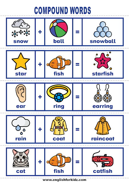 ESL compound words - printable worksheets and cards for English students