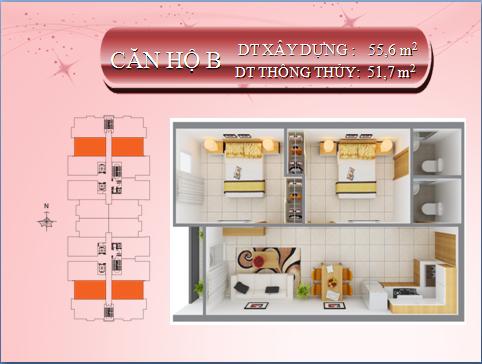 Bán lại căn hộ 8X Thái An Quận Gò Vấp, diện tích 55,6m2