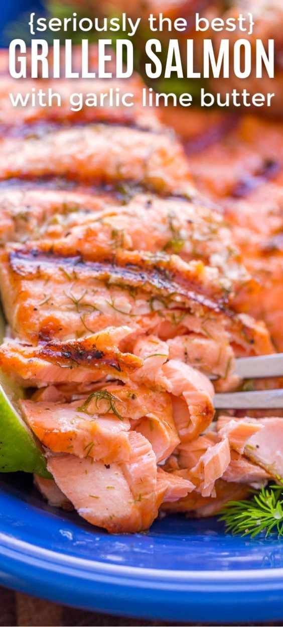 Grilled Salmon with Garlic Lime Butter
