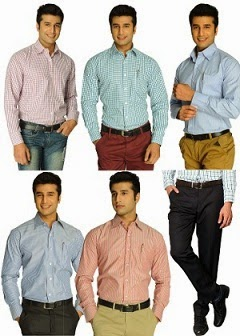 HomeShop18 Special Offer: Smart Collection of 5 Formal Shirts By Mafatlal + FREE Mafatlal Black Trouser length of 1.2 Meter for Rs.1999 Only