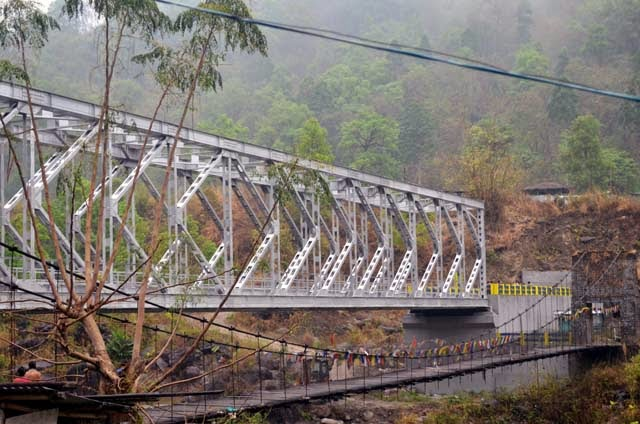 New Jogighat steel bridge along with old foot bridge
