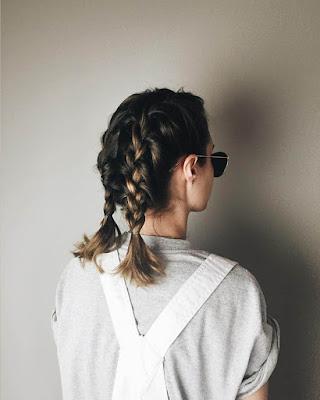 Peinado con cabello corto trenza doble