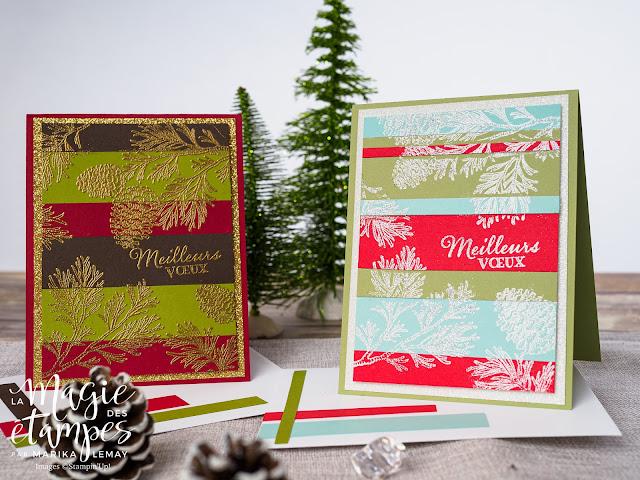 Cartes de Noël Stampin' Up! créée avec le jeu d'étampes Branches paisibles