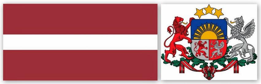 Флаг и герб Латвии