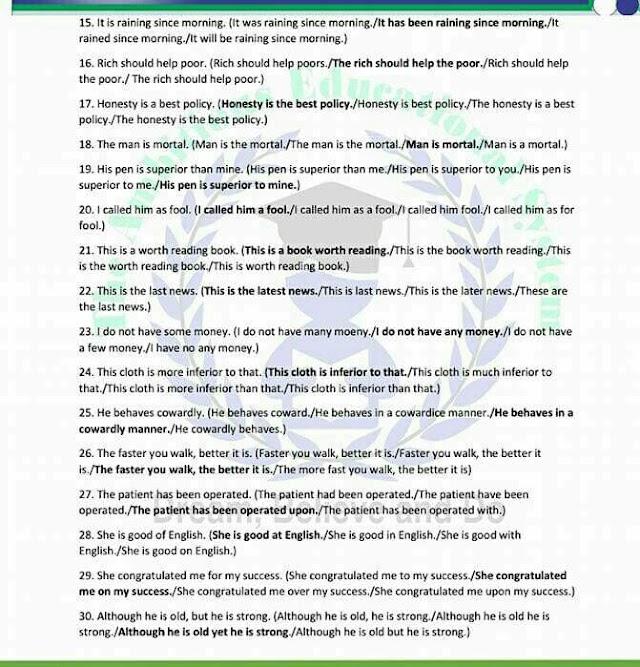 FSC Part2 English Guess Paper