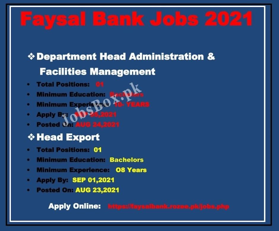 Faysal Bank Limited  Latest Jobs 2021