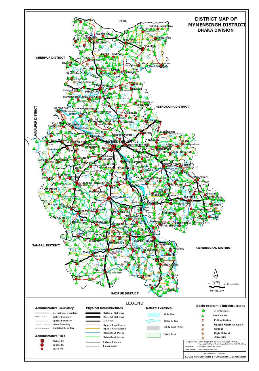 Mymensingh District Map Bangladesh