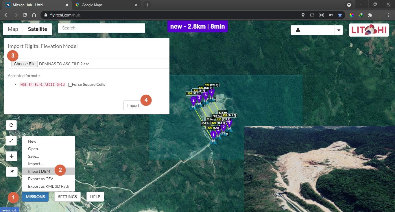 Import DEM pada Mission Hub Litchi - How to Import DEM on Mission Hub Litchi