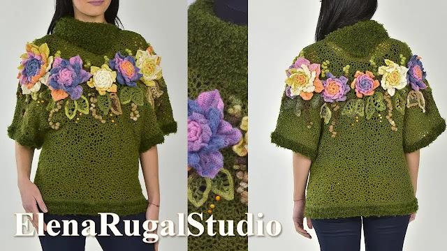 Cómo Decorar Blusa con Flores y Encajes a Crochet
