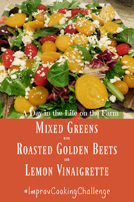 Mixed Greens with Roasted Golden Beets and Lemon Vinaigrette pin