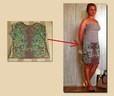 przeróbka bluzki na spódnicę