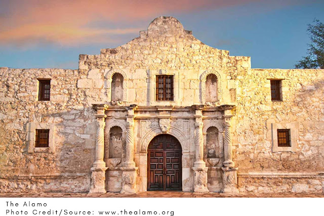 the still-standing front of The Alamo