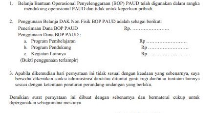 Galeri PAUD: Format Formulir Pernyataan Tanggung Jawab ...