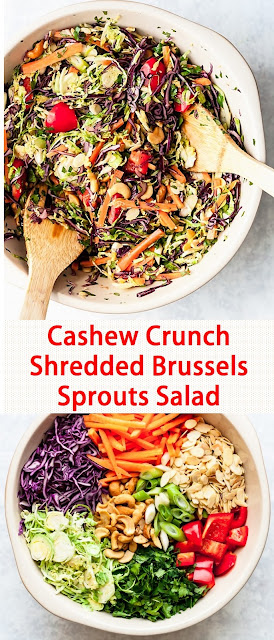 Cashew Crunch Shredded Brussels Sprouts Salad