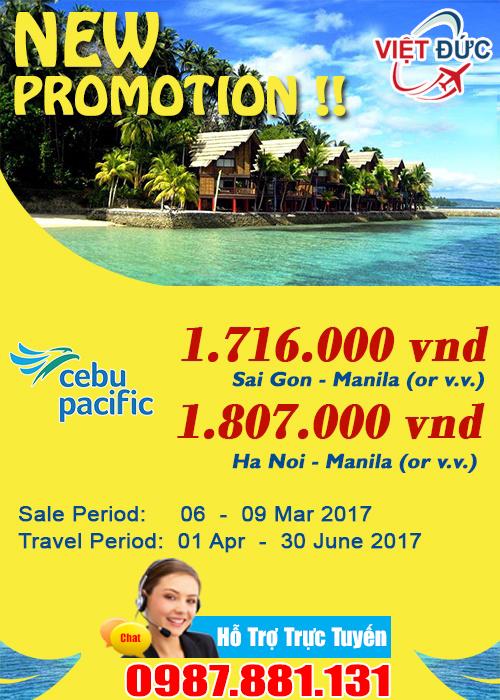 khuyến mãi vé đi Manila giá chỉ từ 1.716.000 đồng hãng Cebu Pacific