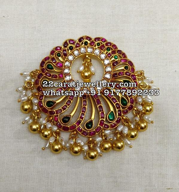 Heavy Latest Kundan Pendants in Silver