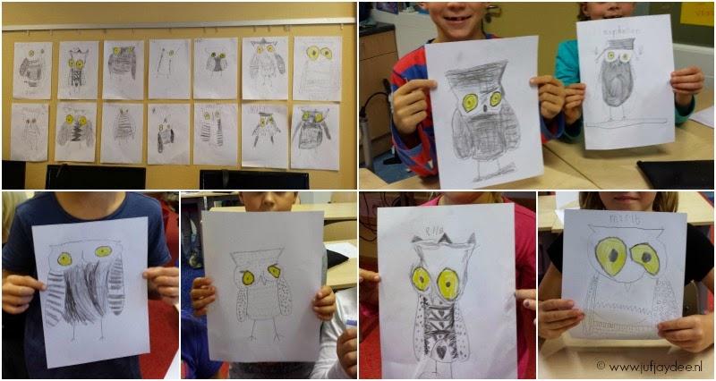 Iets Nieuws Juf Jaydee: Uil tekenen met grijs potlood &RR29