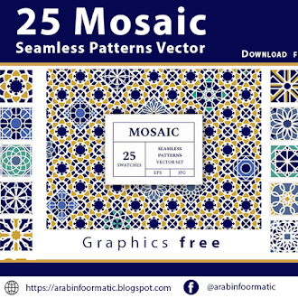 Mosaic Seamless Patterns Vector free-download