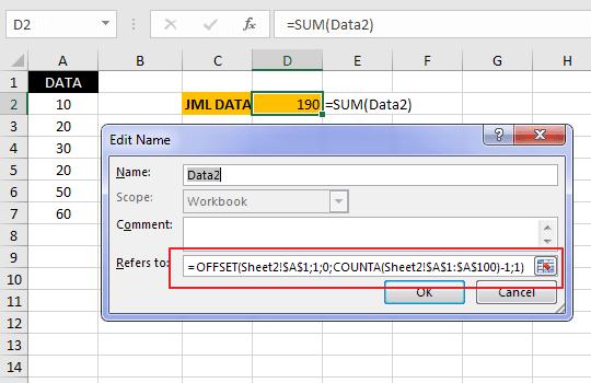 Cara Membuat Nama Range Dinamis pada Excel 2